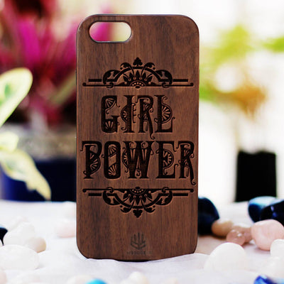 Girl Power Wood Phone Case - Walnut Wood Phone Case - Engraved Phone Case - Phone Cases for Women - Feminist Wood Phone Cases - Woodgeek Store