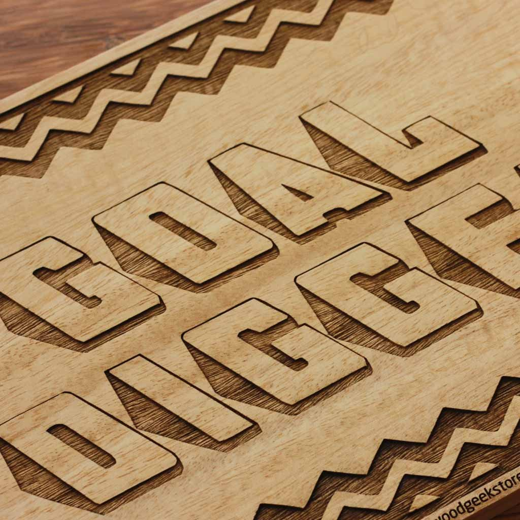 Wood Carved Sign | Goal Digger Inspirational Wall Sign - woodgeekstore