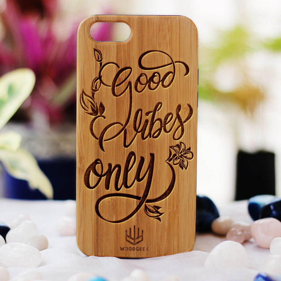 Good Vibes Only Wood Phone Case - Rosewood Phone Case - Engraved Phone Case - Inspirational Wood Phone Cases - Woodgeek Store