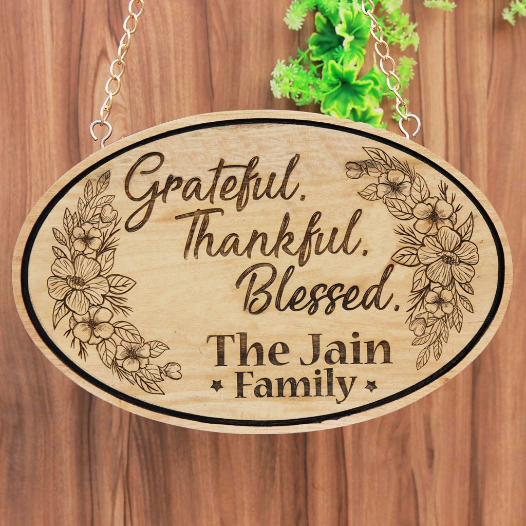 Grateful Thankful Blessed Personalized Hanging Wooden Sign