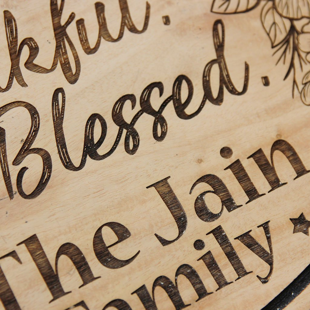 Grateful Thankful Blessed Wooden Sign - This Hanging Sign Is A Personalized House Sign Engraved With Your Family Name. This Family Sign Makes A Great Housewarming Gift - These Wooden Nameplates Make Great House Accessories And Are Perfect For Outdoor Wall Decor.