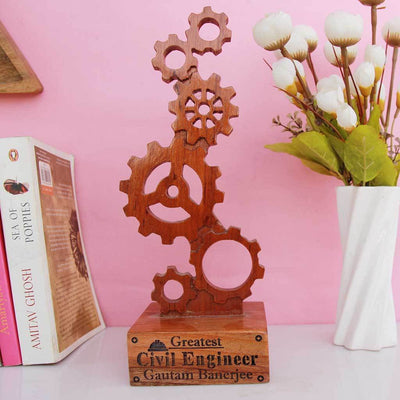 Greatest Engineer Ever Wooden Engineering Trophy - This Wooden Award Of Appreciation Makes The Best Gifts For Engineers - Looking For Gift Ideas For Engineers ? Shop More Personalized Gift Items Online From The Woodgeek Store.