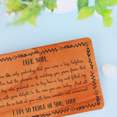 A Set Of Personalized Wooden Cards. Greeting Card For Son. Birthday card for son, birthday wishes for son in law, wedding wishes for son and daughter in law engraved on a wooden greeting card.