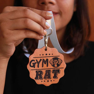 Gym Rat Wooden Medal With Ribbon. This Medal Makes Great Gifts for Fitness Lovers. Funny Gifts For Gym Lovers.