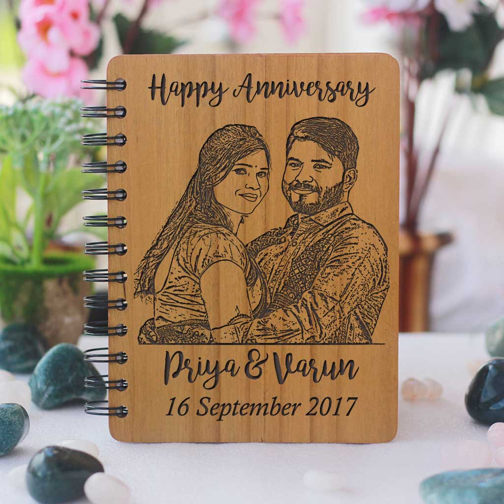 Personalised Diary With Photo. These Custom Notebooks Make Great Personalised Anniversary Gifts. This Photo-Engraved Wooden Notebook With Anniversary Wishes Is The Best Photo Gift And Romantic Gift.