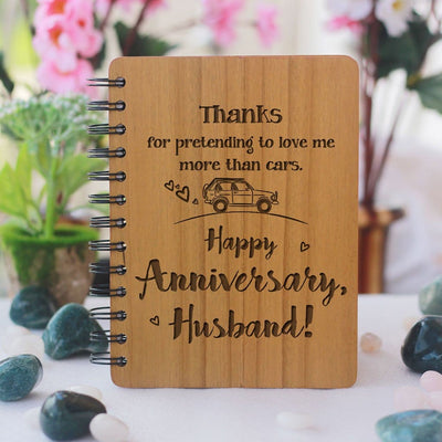 Thanks For Pretending To Love Me More Than Cars. Happy Anniversary, Husband! Personalized Notebook. This Spiral Notebook Is The Best Anniversary Gift. This Wooden Journal Notebook Is A Funny Gift For Husband