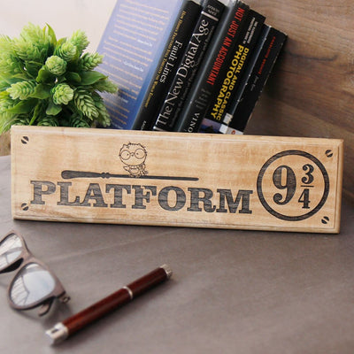 Harry Potter Platform 9 3/4  Nameplate & Wood Sign - Gifts for Harry Potter fans by Woodgeek Store