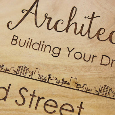 Engraved Name Plates For Architects - Hanging Wooden Sign