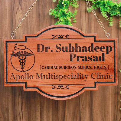Business Signs For Doctors - Hanging Name Plates For Doctors Custom Engraved With The Doctor's Symbol. This Doctor Name Plate Is The Perfect Gifts For Doctors - Shop More Business Signs And Shop Signs From The Woodgeek Store