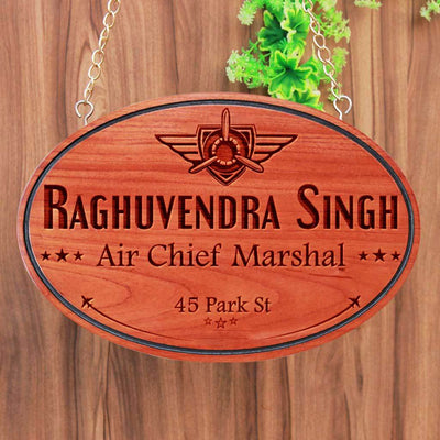 Personalized Large Nameplates For Air Force Officers - This Indian Air Force Office Name Plate Can Be Engraved With The Air Force Logo - These Hanging Name Signs Make the best air force gifts, gifts for air force pilots or even air force retirement gifts.