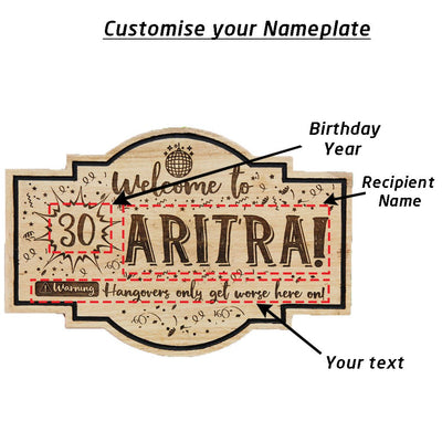 Personalized Hanging Wood Sign For Birthdays - This Custom Nameplate Makes A Perfect Birthday Gift For Friends, Family & Loved Ones - This Wood Carved Sign Is Also A Great Party Accessory.