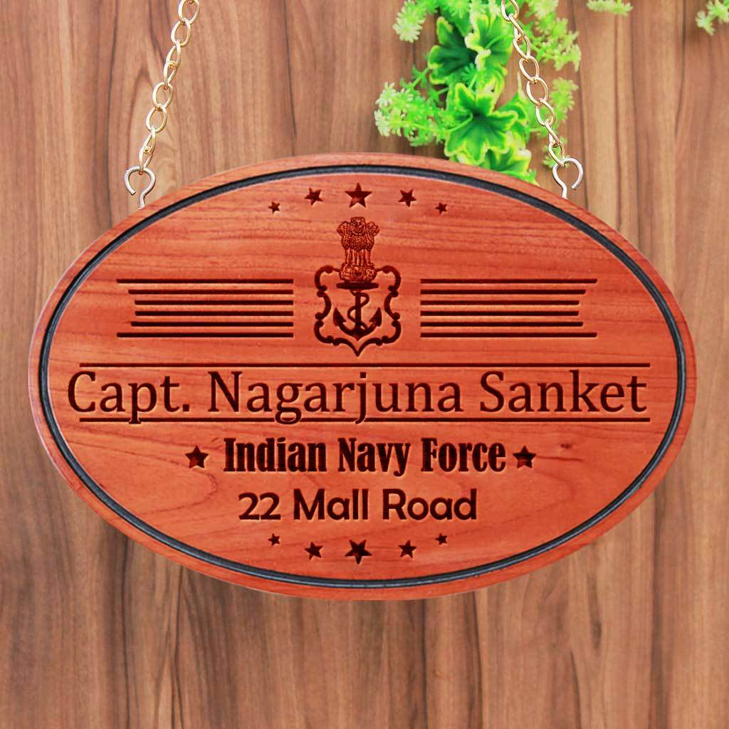 Personalized Large Nameplates For Air Navy Officers - This Personalized Indian Navy Force Office Name Plate Can Be Engraved With The Navy Force Logo - These Hanging Wooden Boards Make Perfect Gifts For Navy Officers - Shop More House Signs And Address Plates From The Woodgeek Store