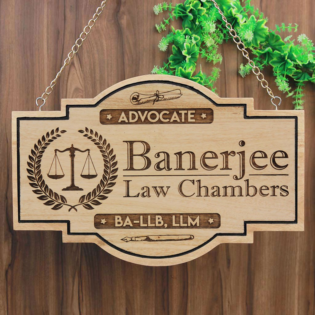 Hanging Wooden Business Sign - Gifts For Lawyers- Advocate Name Plate