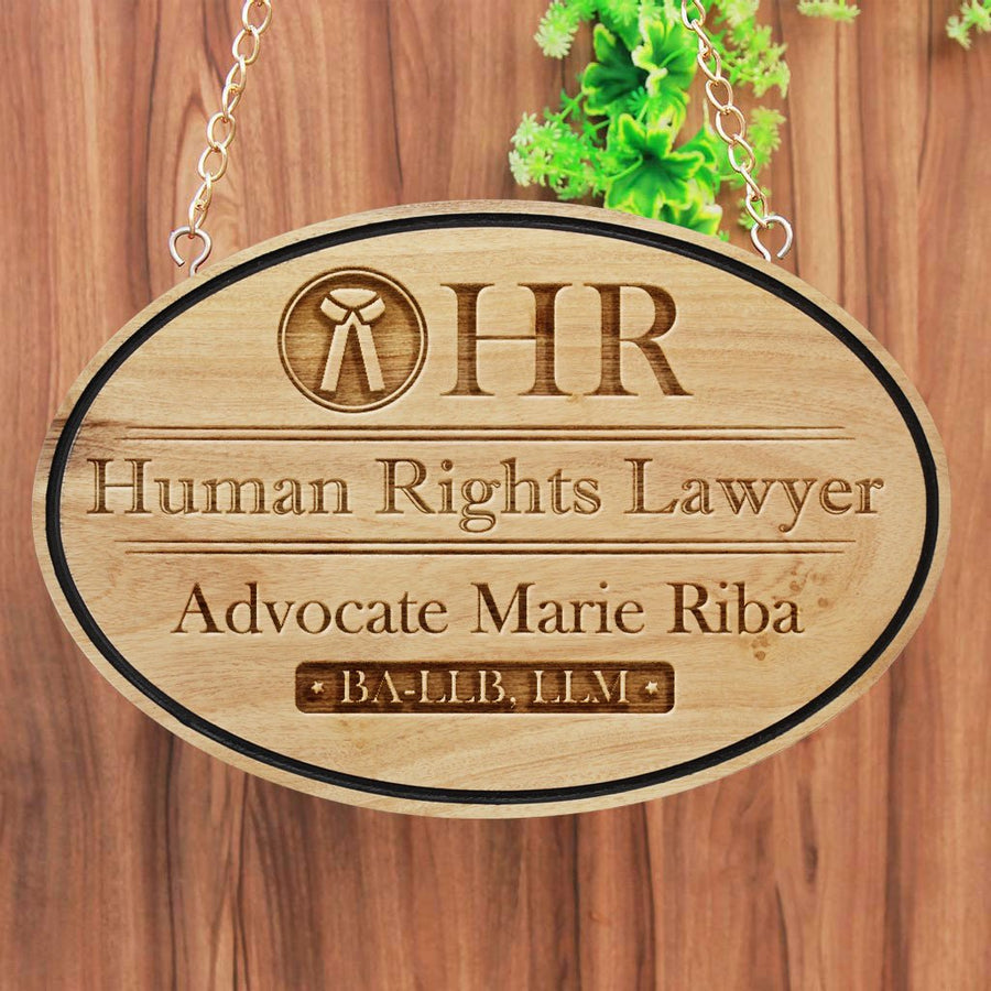 Business Sign For Lawyers - Lawyer Name Plate Engraved With Law Symbol, The Scales Of Justice. Hanging Name Plates Makes Perfect Gifts For Lawyers - Shop More Business Signs And Shop Signs From The Woodgeek Store