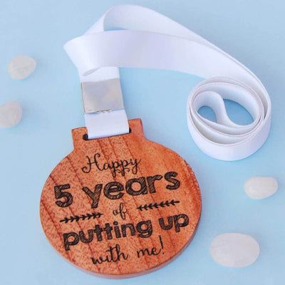 Anniversary Trophy Medals - Happy 5 Years Of Putting Up With Me Funny Medal With Ribbon . These Medal Awards Make The Best Anniversary Gifts