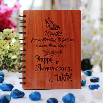 Thanks For Pretending To Love Me More Than Shoes. Happy Anniversary, Wife! Personalized Notebook. This Spiral Notebook Is The Best Anniversary Gift. This Wooden Journal Notebook Is A Funny Gift For Wife