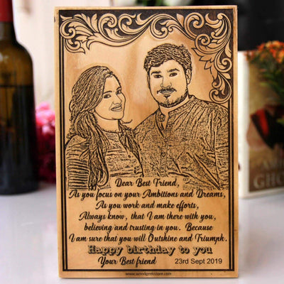 Happy Birthday Best Friend Personalized Wooden Frame. Looking for best friend gifts? This wooden frame engraved with a photo and a personal birthday wishes is one of the best birthday gifts for friends.