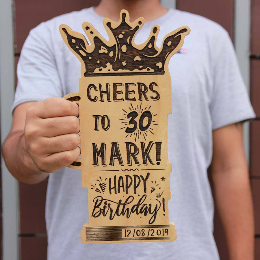 Happy Birthday Personalized Wooden Plaque. Customised Gifts for Birthday In The Shape Of A Beer Glass. This Custom Birthday Plaque Makes One Of The Best Birthday Gifts For Friends. Looking For Funny Birthday Gift Ideas? This Personalized Beer Glass Award Makes The Best Birthday Gifts.