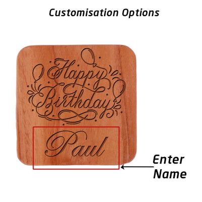 Birthday Coasters. Personalized Coasters With Happy Birthday Wishes Engraved.