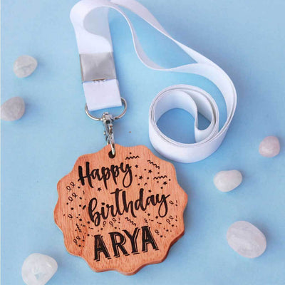 Happy Birthday Wooden Medal - This custom medal is one of the most affordable birthday gifts. Wish Your Friend, Family, Or Partner A Happy Birthday With This Custom Medal Engraved With The Words 'Happy Birthday'. This Is A Unique Birthday Gift For The Birthday Boy/Girl.