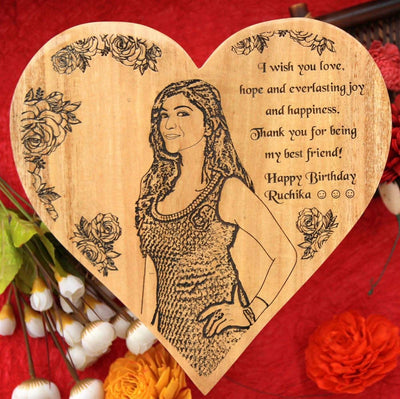 Wood Engraved Photo And Birthday Wishes. This photo on wood is one of the best birthday gifts for best friend. These wooden posters make unique birthday gifts for her and best friend gifts
