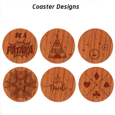 Diwali coasters engraved with Happy Diwali wishes, diya to symbolize the festival of lights, Diwali rangoli, playing cards to represent taash parties, a fun engraving of the flower pot cracker and be a pataka text engraving as shown in the photos.