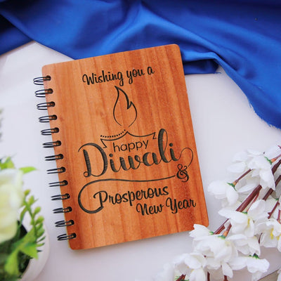 Happy Diwali & Prosperous New Year - Personalized Wooden Notebook