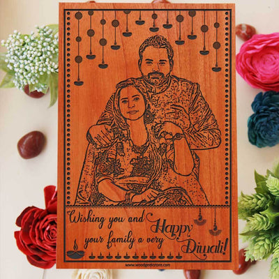 Wooden photo frames engraved with photo and Diwali wishes: Wishing you and your family a very happy Diwali. Happy Diwali Personalized Diwali Gift. Looking for Diwali gift ideas? What better Diwali gifts for family than wood engraved photo. This Engraved Wooden Photo Plaque Is The Best Diwali Gifts Online.