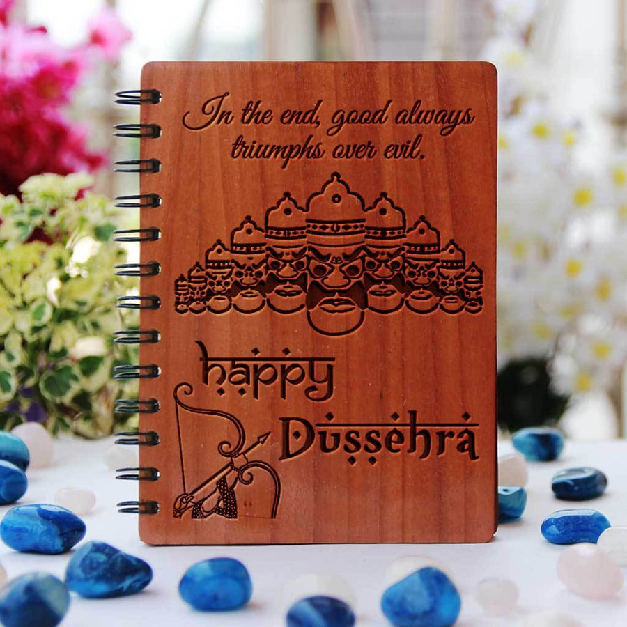 In the end, good always triumphs over evil. Happy Dussehra! Send happy dussehra wishes with wooden notebook. This spiral notebook is the best way to send dussehra wishes.