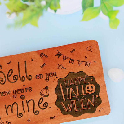 I put a spell on you and now you're mine. Happy Halloween! - Halloween Cards Engraved With Happy Halloween Greetings. Looking for funny Halloween cards, Halloween cards for kids, cute Halloween cards, cute Halloween cards for boyfriend, these personalized Halloween greeting cards are perfect. Buy Wooden Greeting Cards Online.