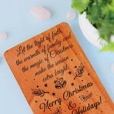 Let the light of faith, the warmth of family and the magic of Christmas make the season extra bright. Merry Christmas & Happy Holidays! - Happy Holidays Cards. Set Of Wooden Cards. Personalized Holiday Cards & Custom Holiday Cards engraved with season's greetings. Shop Greeting Cards Online.