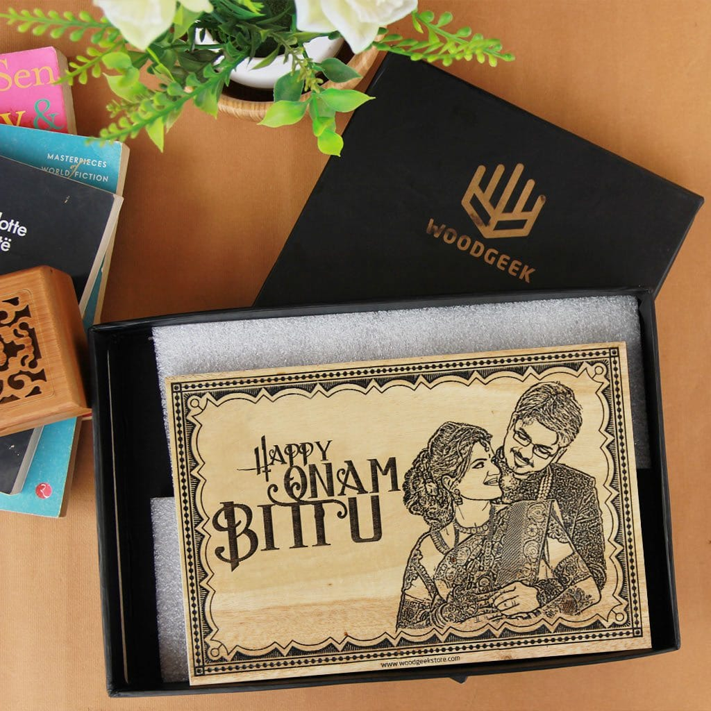 Wood Engraved Photo With Happy Onam Wishes Engraved On Wooden Poster. Looking for personalized gifts for Onam? This photo on wood makes the best Onam gifts.