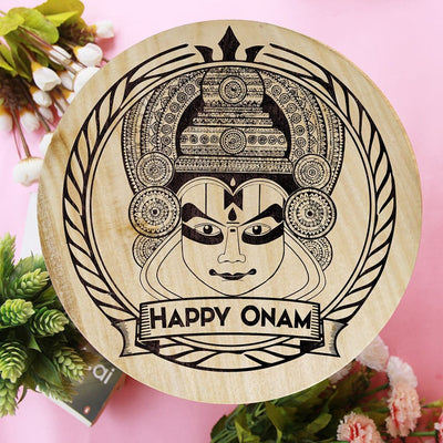 Happy Onam Wooden Poster. Kathakali Face Artwork For Onam. This Wooden Wall Art Is A Great Home Decor Accessory and One Of The Best Onam Gifts.