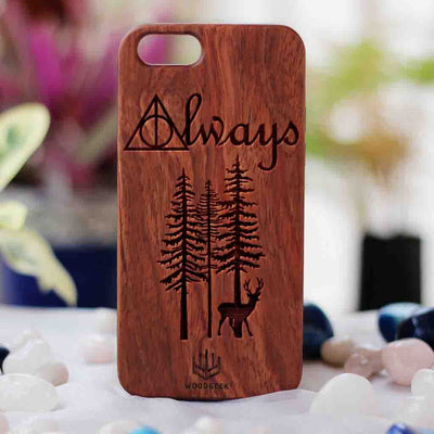 Harry Potter Always Wood Phone Case - Rosewood Phone Case - Engraved Phone Case - Fun Wood Phone Cases - Inspirational Wood Phone Covers - Romantic Phone Cases - Woodgeek Store