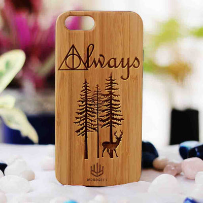 Harry Potter Always Wood Phone Case - Bamboo Wood Phone Case - Engraved Phone Case - Fun Wood Phone Cases - Inspirational Wood Phone Covers - Romantic Phone Cases - Woodgeek Store