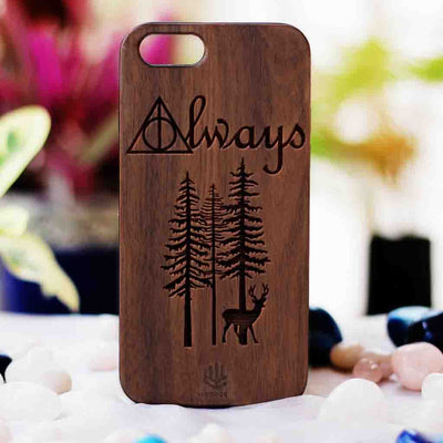 Harry Potter Always Wood Phone Case - Walnut Wood Phone Case - Engraved Phone Case - Fun Wood Phone Cases - Inspirational Wood Phone Covers - Romantic Phone Cases - Woodgeek Store