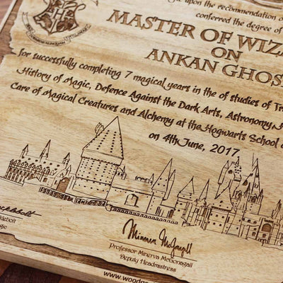 Harry Potter Graduation Letter Carved Wooden Poster Wood Wall Art