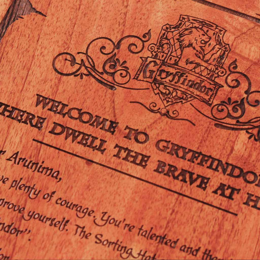 Sorting Hat places you in Gryffindor House - Hogwarts House - Gryffinndor Welcome Letter - Wood Carved Wall art - Woodgeek Store