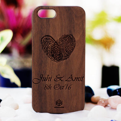 Heart Thumbprint Phone Case - Personalized Fingerprint Keepsakes - Custom iPhone Case - Wooden Phone Case by Woodgeek Store