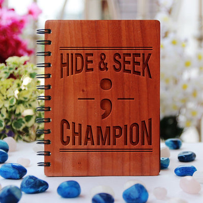 Semicolon - Hide & Seek Champion - Programming Journal - Wooden Notebook for Coders - Gifts for Computer Geeks by Woodgeek Store