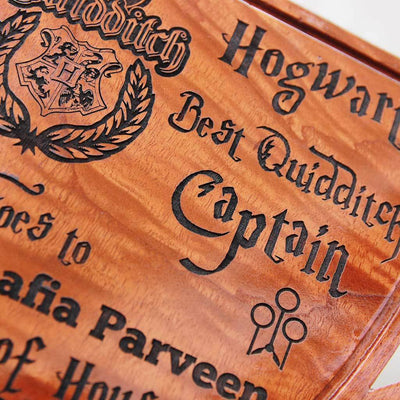 Hogwarts Best Quidditch Captain Award Trophy. Looking for great gifts for harry potter fans? These personalised harry potter gifts will make great birthday gift ideas for friends.