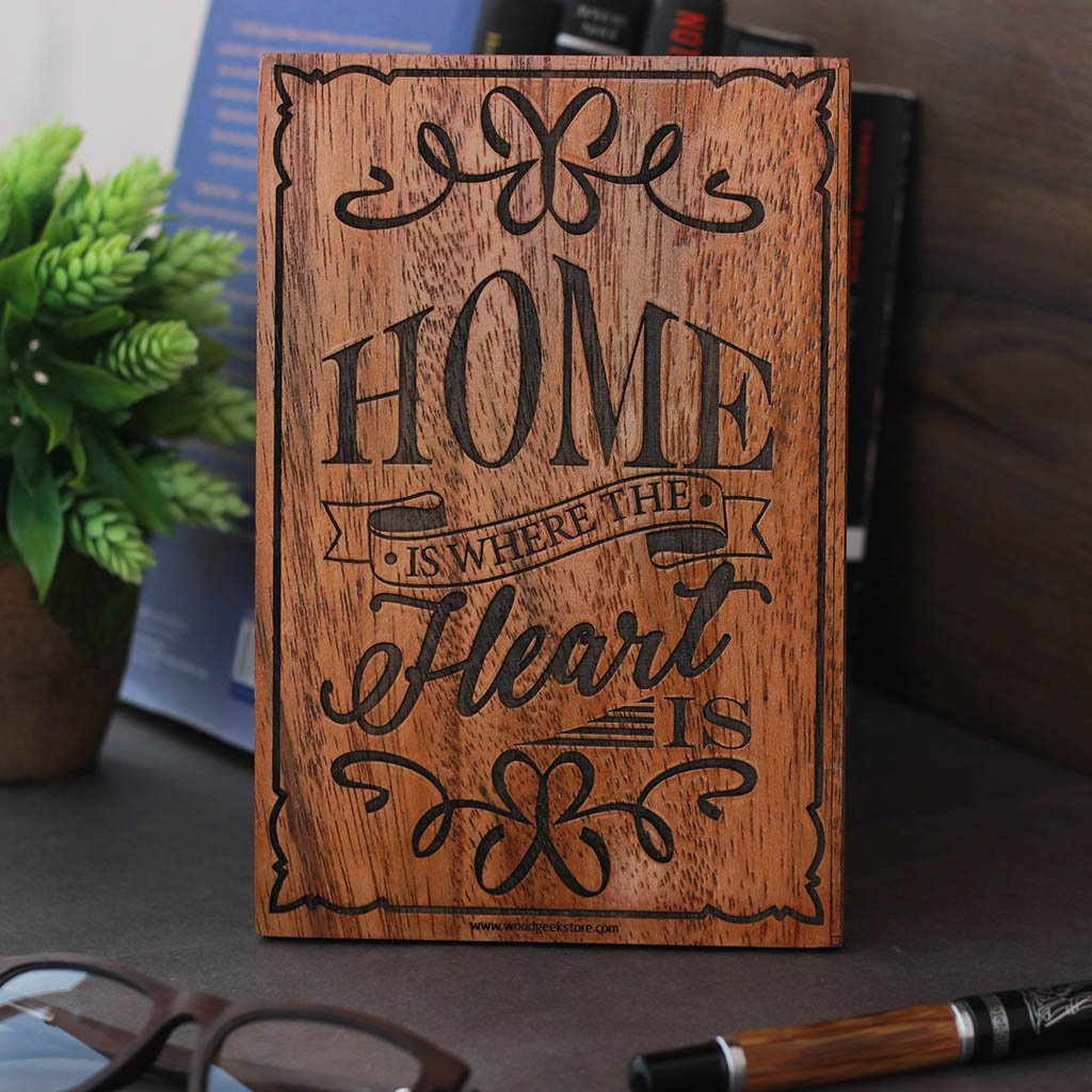 Home Is Where The Heart Is - Wood Wall Decor - Wooden House Signs - Wooden signs with sayings - Home Decor Ideas - Woodgeek Store