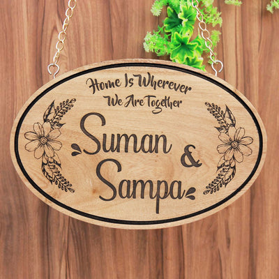 Home Is Wherever We Are Together - Hanging Wooden Signs - Wooden House Signs - Personalised Wooden Plaques - Gifts For Couples - Housewarming Presents - Name Plaques - Hanging Signs - Woodgeek Store