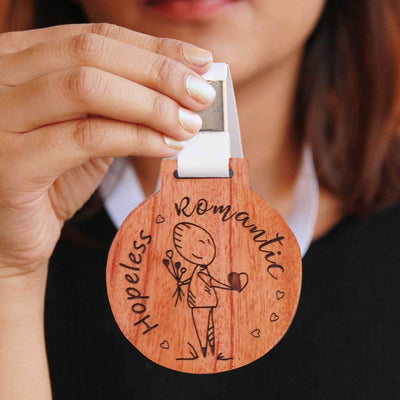 Hopeless Romantic Wooden Medal With Ribbon - Funny Medal Engraved on Birch Wood or Mahogany Wood - This is the best romantic gift