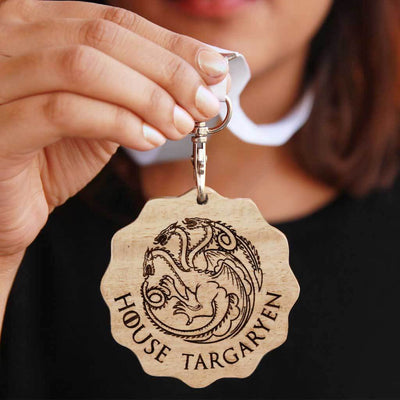 House Targaryen Engraved Medal. A unique award that makes great gifts for game of thrones fans. Buy House Targaryen sigil engraved custom medals online from The Woodgeek Store.