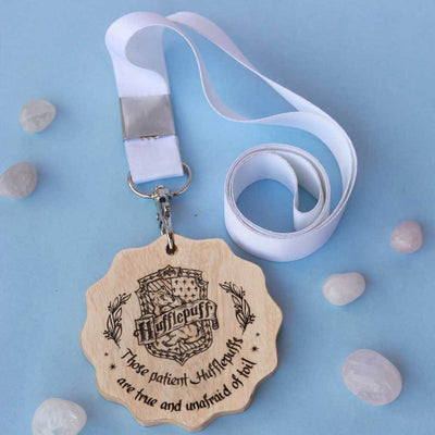 House Hufflepuff Wooden Medal. This custom medal is the best gift for Harry Potter fans. Harry Potter Medals for Potterheads.