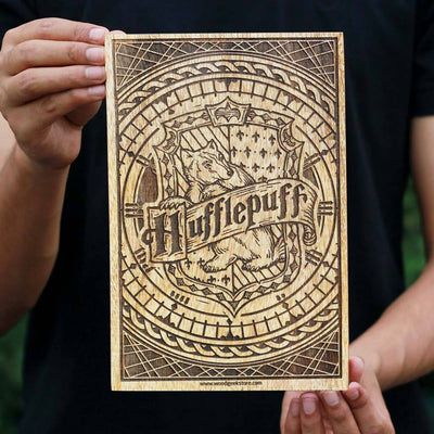Hogwarts House Hufflepuff Wooden Poster & Wall Art - Gifts for Harry Potter fans by Woodgeek Store