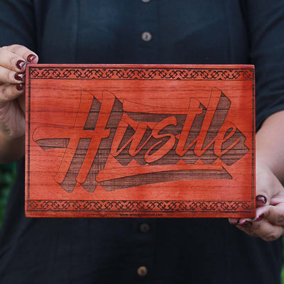 Hustle Wall Posters - Hustle Carved Wood Sign - Wooden Posters - Wood Wall Art - Office Decor - Woodgeek Store
