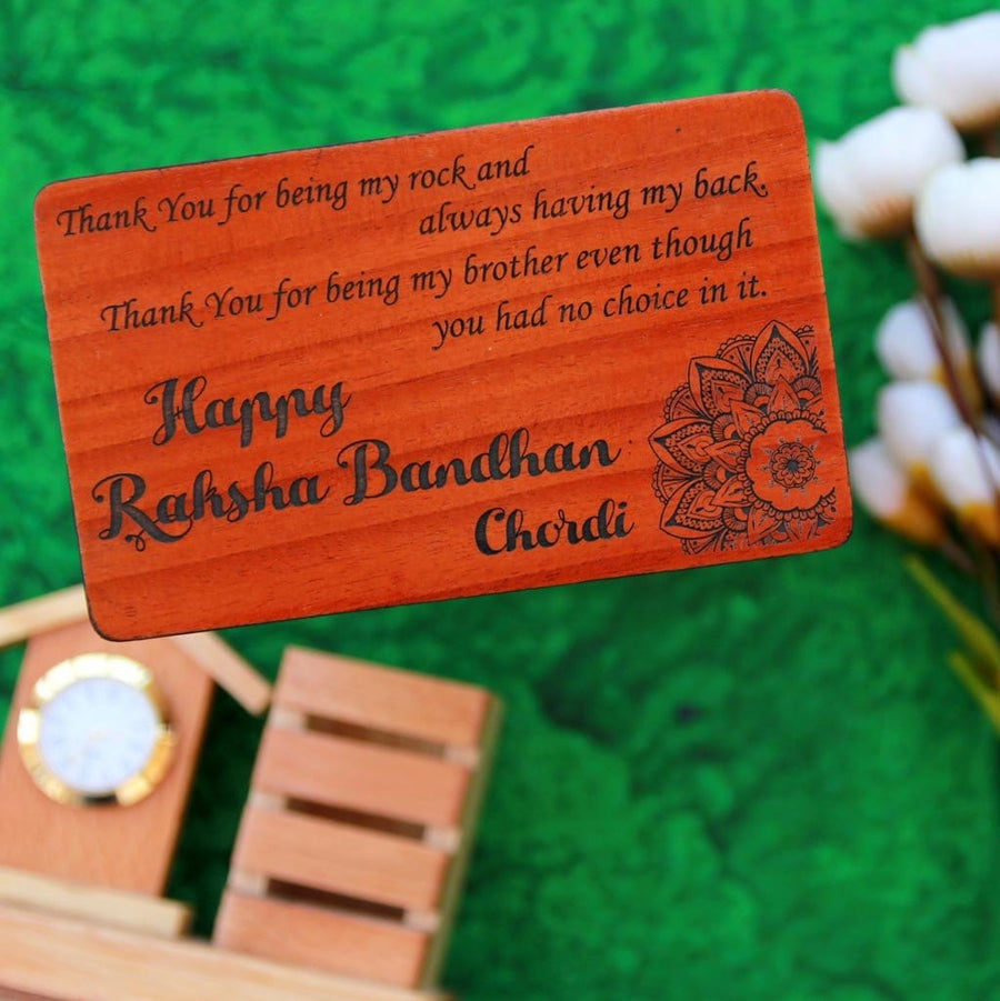 Set of 5 Wooden Rakhis & Wooden Greeting Cards. Personalised Rakhis and Raksha Bandhan Greetings Engraved on Rakhi Card. Buy Rakhi Online & Send Rakhi Online With Woodgeek Store