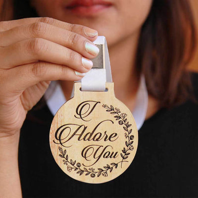 I Adore You Wooden Engraved Medal That Comes With A Ribbon - This Medal of Love is the Best Romantic Gift For Him or Her.